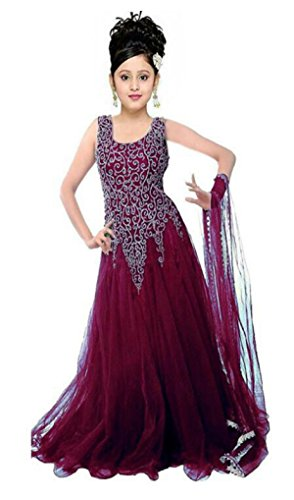 Buy Girl\'s Soft Net Embroidered Gown For Parties And Wedding ...