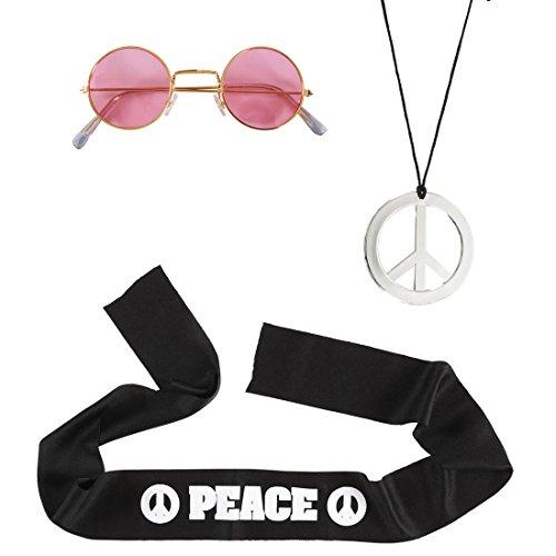 70er Jahre Accessoires Flower Power Hippieset Peace Kette Stirnband Brille Hippie Set Karneval Kostüm Zubehör Friedenssymbol Kostümset 60er Jahre Verkleidung