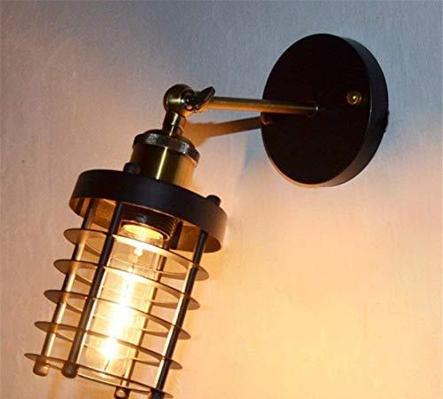 ACZZ Wandleuchte, Eisen Retro Led Schwarz Dekorative Hängelampe Wandleuchte Industrie Schlafzimmer Restaurant Kleine Wandleuchte,A,Lampe