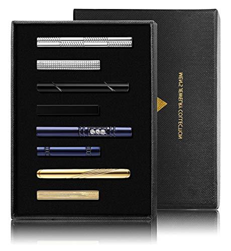 YADOCA 8 Pcs Krawattenklammer Set für Männer Herren Kupfer Metall Klassisch Krawattenklammer Bar Clip Hochzeit Geschäft mit Geschenkbox (Parfüm Herren Sehr B)