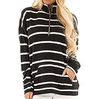 Yvelands Clearance Women Striped Tops Long Sleeve Sweatshirt Pocket Pullover Shirt Tees