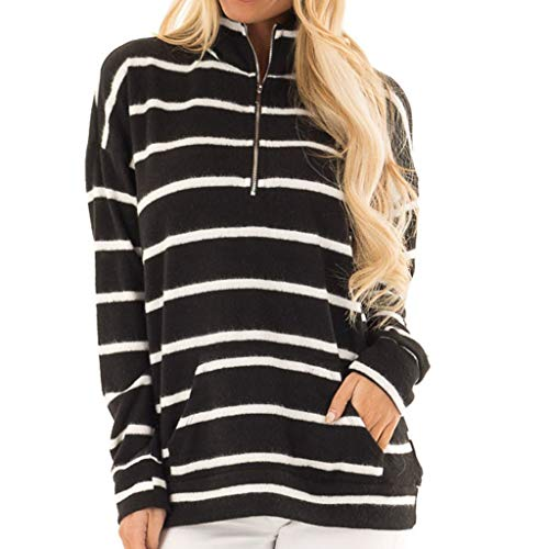 WWricotta Women Striped Long Sleeve Sweatshirt Pocket Pullover Tops Shirt(Schwarz,M) - Pocket Jumper