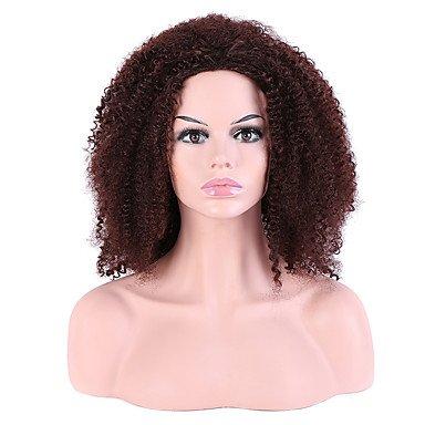 Perücken Capless Long Afro Jheri Curl braun für schwarz Frauen Layered Haarschnitt Party Perücke Halloween Perücke Natur Perücken Kostüm Perücken (Beste Halloween-party Nyc)