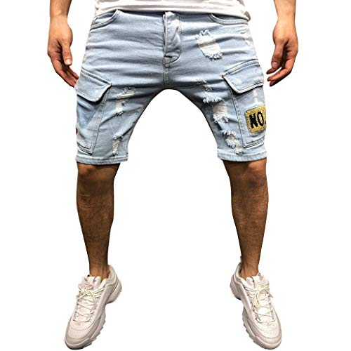 ZHANSANFM Herren Jeans Shorts Loch Bermuda Straight-Cut Kurze Jeanshose mit Elastischem Beinabschluss Shredded Denim Short Elegant Jeanshorts Mode Retro Freizeithose Slim Fit (XL, Hellblau)