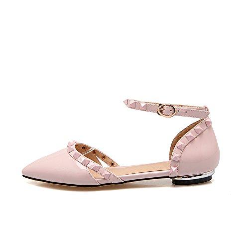 Guoar Große Größe Spitze pointedtoe PU mit Nieten und Schnalle Ohne Absatz Sandalen Pink