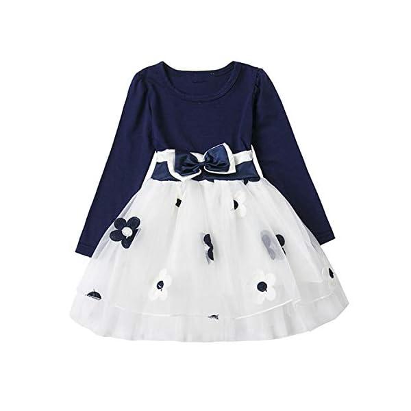 TTYAOVO Vestido de Fiesta de Princesa de Algodón de Manga Larga para Bebés Niña 1