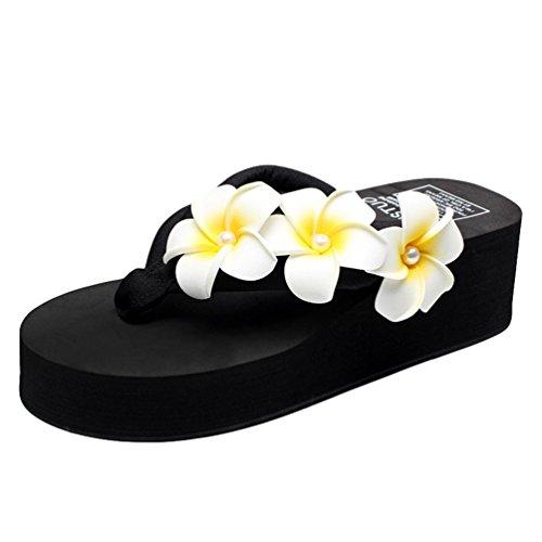 YOUJIA Femmes Boho Fleurs Tongs été Plage Compensées Plateforme Sandales #6 Noir