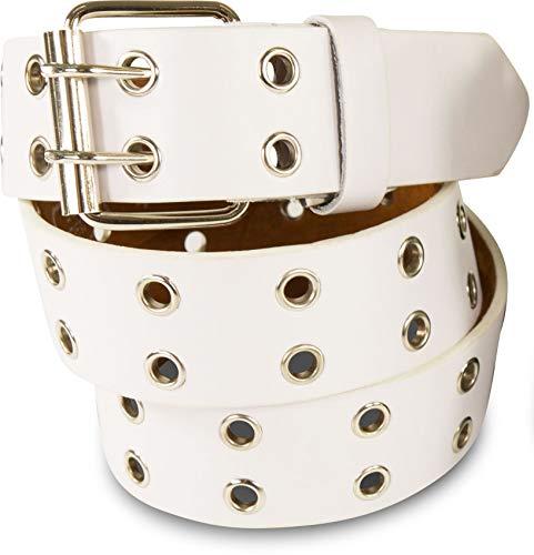 SCAMODA Cinturón tachonado de doble orificio con piel auténtica para hombres y mujeres (Blanco, 115/BW100 - ancho 3,5cm)