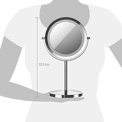 Navaris Kosmetikspiegel mit LED Beleuchtung - Spiegel mit normaler und 5-facher Vergrößerung - Schminkspiegel beleuchtet 360° drehbar - 4