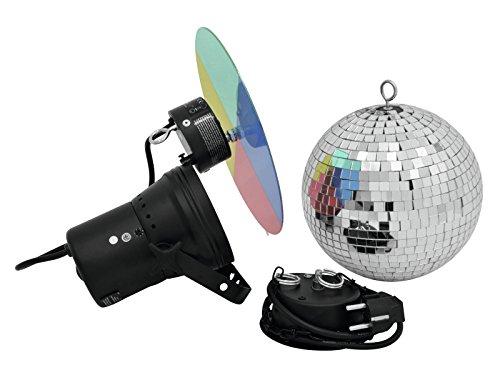 Discokugel-Set NIGHT FEVER mit Pinspot, Farbscheibe und Zubehör, Ø 20 cm, silber - Spiegelkugel Set mit Punktstrahler - Disco Effekt Paket für...