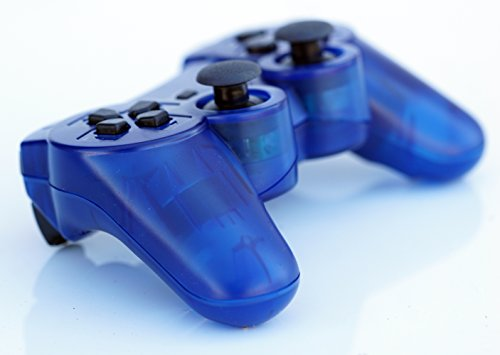 FiveStar Transparent Kabelloser Fernbedienung PS3 Controller Gamepad für Verwendung mit Playstation 3 Blau - Blau Ps3 Wireless Controller