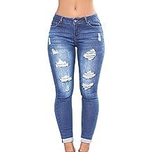 ce8da92f876 laamei Femme Troué Slim Jeans Déchirés Leggings Skinny Taille Haute Crayon  Pantalon Collants Push ...