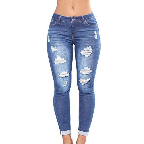 Wenyujh Damen Jeanshose Denim Jeans Bleistift Hose Stretch Leggings Ripped  mit Bluemn Stickerei Hoch Taille (36 Herstellergröße M, Hellblau) 29bb4aca3f