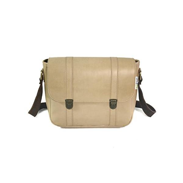 Handbag with strap; beige leather; eco-friendly - handmade-bags