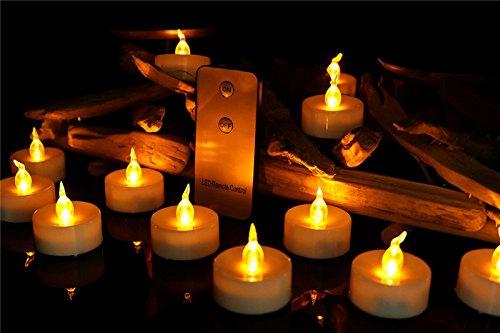 Amzbeauty 24pcs Kleine Bernsteinfarbige Geführte Kerzelichter Mit Fernbedienung, -