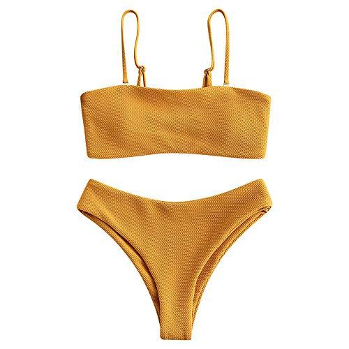 ZAFUL Damen Texturiert Spaghetti-Träger Gepolstert Bikini Set Badeanzug Gelb M