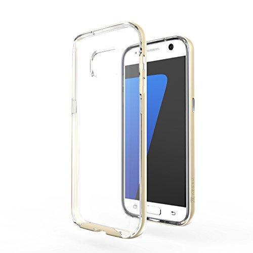 Azorm Handyhülle für Samsung Galaxy S7, Hybrid Edition Smartphone Hülle, Bumper Schutzhülle Anti-Rutsch und Kratzfest, Silikon Rückseite Transparent - Gold (Metalleffekt)