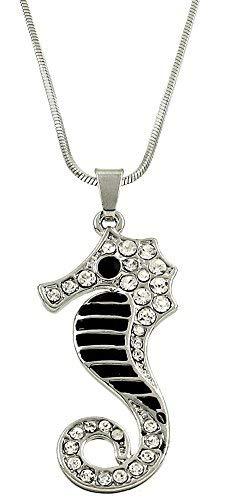 Glamour Girl Gifts Halskette mit Seepferdchen-Anhänger aus schwarzem Emaille und Kristall, silberfarben