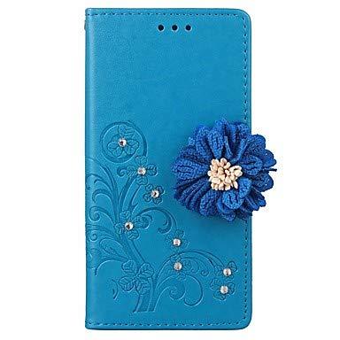 Handy-Hüllen & Hüllen, Case für iPhone Brieftasche/kartenhalter/Strass ganzkörper fällen einfarbig/Blume hart pu Leder für iPhone (Farbe : Blau, Kompatible Modellen : iPhone 8)
