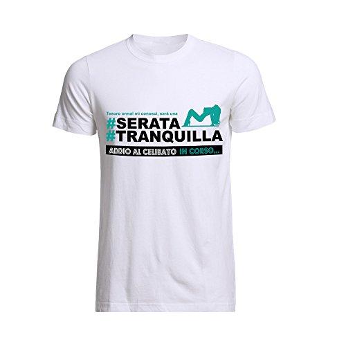T-shirt uomo maglietta per addii al celibato bianca personalizzata serata tranquilla - m