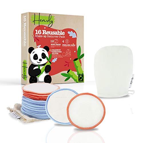 Dischetti Struccanti Lavabili e Riutilizzabili Effetto Peeling con Guanto Struccante Viso e Occhi in Bambù e Cotone per Tutti i Tipi di Pelle + Borsa per Lavaggio | Zero Waste
