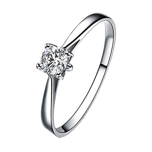 Vendita Calda Attraente Semplice Argento Intarsiato Zircone Per Le Donne Sposa Fidanzamento Matrimonio Anello,13 - Anello Perla Indiana