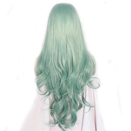 Perücken Haar Wig hitzefest Faser Haar, Grün, Synthetische Lace-Front-Perücke, 26cm