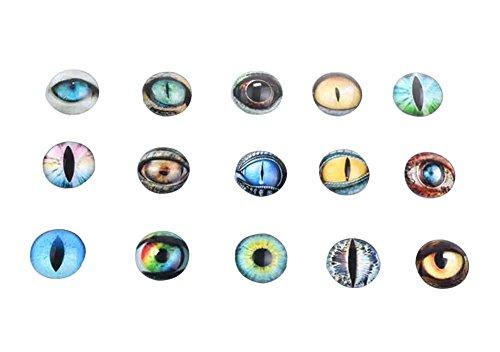 Black Temptation Set von 16 Glas gefälschte Augen Handwerk Augen Puppe Augen zufällige Art