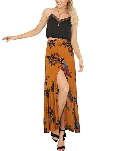 Simplee Apparel Damen Lang Blumen Röcke Elegant Baumwolle High Waist Boho Maxi Beach Röcke mit Schlitz Weiß Rot