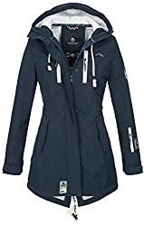 Marikoo Damen Winter Jacke Winterjacke Mantel Outdoor wasserabweisend Softshell B614 [B614-Zimt-Navy-Gr.S]