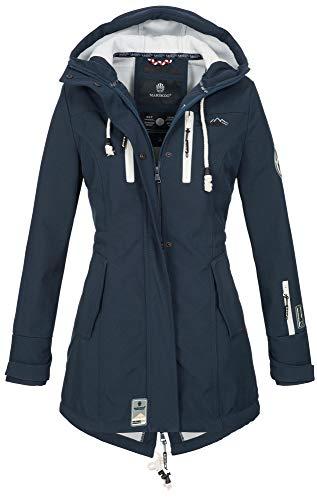 Marikoo Damen Winter Jacke Winterjacke Mantel Outdoor wasserabweisend Softshell B614 [B614-Zimt-Navy-Gr.M]