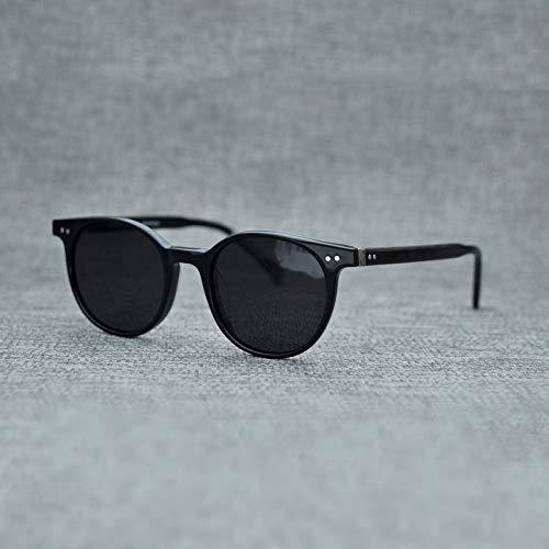 LKVNHP Neue Hochwertige Retro Marke Runde Polarisierte Sonnenbrille Frauen Acetat Spiegel Sonnenbrille Männer Shades Rahmen Sonnenbrille Vintage Brillen Uv400Schwarz