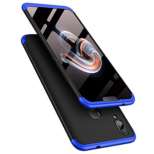 TheGiftKart Full Body 3-In-1 Slim Fit Complete 3D 360 Degree Protection Hybrid Hard Bumper Back Case Cover For Vivo V9 / V9 Youth (Black & Blue)
