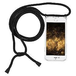 Imikoko Handykette Hülle für iPhone 7/8 Necklace Hülle mit Kordel zum Umhängen Silikon Handy Schutzhülle mit Band - Schnur mit Case zum umhängen (Schwarz 2)