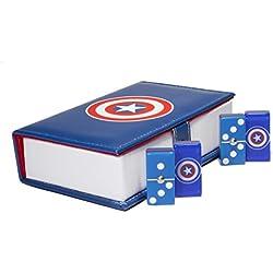 Juego de Dominó 100% Acrílico: Capitán América. Encapsulado. Estuche Tipo Libro.