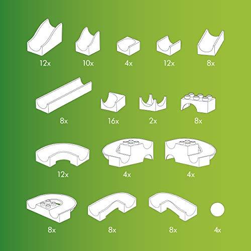 Hubelino 420381 - Kugelbahn - Bahnelemente Set - ab 4 Jahren (100% kompatibel mit Duplo) - 128 Teile