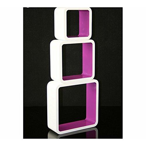 3 étagères cubes murales en MDF blanc-violet rangement ETA06058