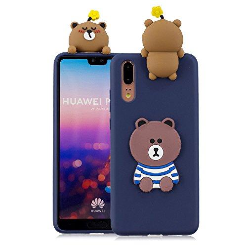 Ostop Hülle für Huawei P20,3D Handyhülle Niedlich Karikatur Tier Schutzhülle,Weich Silikon Gummi Haut Abdeckung,Blau Braun Bär Muster Schlank Passen Stoßfeste Schale für Huawei P20 -