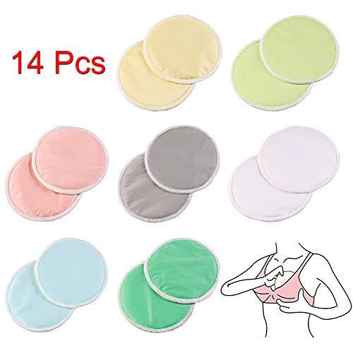 Bkinsety Almohadillas de Lactancia Bambú Orgánicos, Discos de Lactancia Suave y Súper Absorbente, Lavables y Reutilizable, Múltiples Colores, Viene con 1 Bolsa de Lavandería (Paquete de 14)