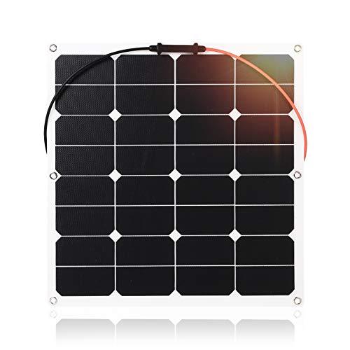 Especificación de nuestro panel solar semi flexible ETFE 50W: Potencia: 50W; Material: ETFE + EVA + célula solar Sunpower + TPT Voltaje de trabajo: 16V Corriente de trabajo: 3.1A Puerto de salida: conector estándar MC4 con función impermeable Función...