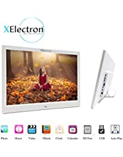 XElectron 12 inch IPS LED Digital Photo Frame/Video Frame with 1080P Resolution Plays Images, Video & Music, USB/SD Card Slot, with Remote (White)