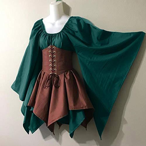 Halloween Dunkle Elfen Kostüm - SUMTTER 2019 Retro Mittelalter Damen Kleidung Halloween Gothic Cosplay Kostüm Kleid Steampunk Minikleid mit Trompetenärmel