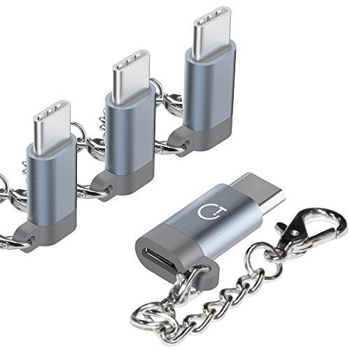 Gratein USB C Adapter Typ C Adapter, 4 Stücke Premium Aluminium Typ c auf micro usb Adapter für MacBook Pro, ChromeBook Pixel, Nexus 5X, Nexus 6P, HTC 10, OnePlus 2 und weiteres Typ C Geräte - Grau