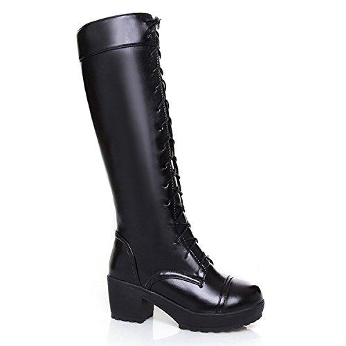 Nonbrand Damen Blockabsatz Schuhe Spitze bis Viktorianischer Knie Länge Stiefel, Schwarz - Schwarz - Größe: 41 (Viktorianische Stiefel Schuhe)