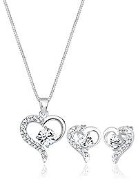 Elli Damen Schmuckset aus Halskette und Ohrringen Herz Liebe Swarovski Kristalle Edel in 925 Silber