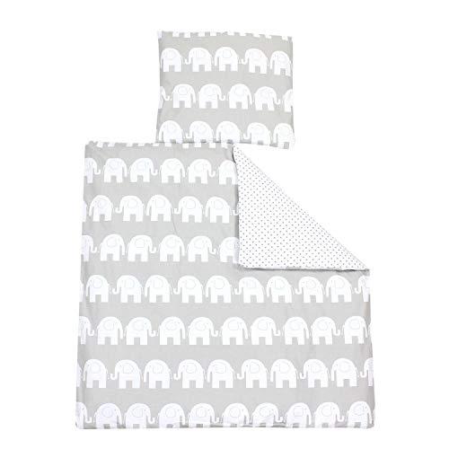 TupTam Unisex Baby Bettwäsche Wiegenset 4-teilig, Farbe: Elefant Weiß/Tupfen Grau, Größe: 80x80 cm