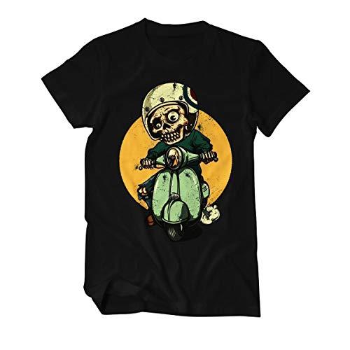 Skeleton Vespa Biker - T-Shirt Herren L Schwarz