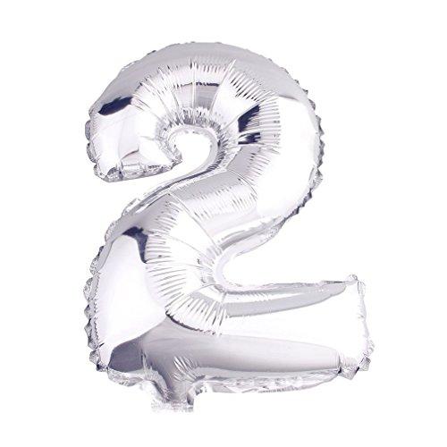 r Luftballons Buchstaben A zu Z Zahlen 0 zu 9 Geburtstag Hochzeit Jubiläum Babyparty Deko Ballons (Zahl 2) (Geburtstag Zahlen)
