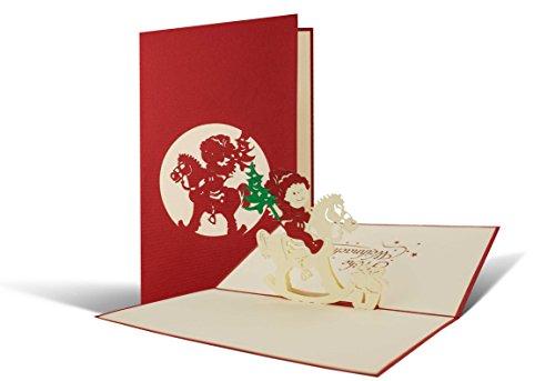 Biglietto di natale con cavallo a dondolo 3d a comparsa, fatto a mano, alta qualità, cartolina di auguri natalizi pop up per adulti e bambini, busta inclusa, rosso e bianco