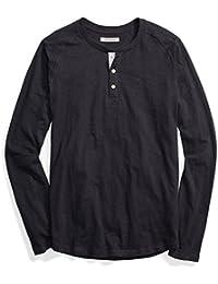 Marca Amazon - Goodthreads – Camiseta estilo Henley de algodón flameado de manga larga, ligera para hombre